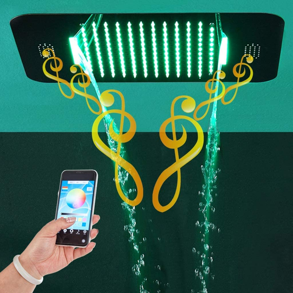 GYL Bluetooth Música Alcachofa de la Ducha, Techo Empotrado 380 * 580 mm Cabezales de Ducha LED, Cabezal de Control Remoto 304 Acero Inoxidable Cromo