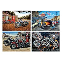 honuansortory 4 Pack Motorcycle 5D DIY Diamond Painting Kits Full Drill Rhinestone Embroidery Cross Stitch Home Decor Craft for Home Party
