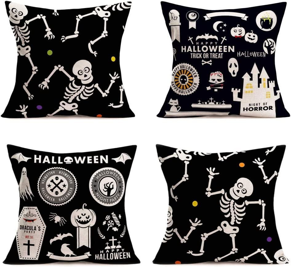 Hopyeer Cotton Linen Pillow Covers Decor Halloween Home Sofa Couch Throw Pillowcase Funny Skeleton Dancing Halloween Ghost Horror Castle Black Style Decoration Cushion Cover 18