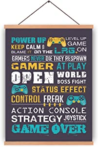 CHDITB Video Game Magnetic Natural Wood Hanger Frame Poster,Canvas Funny Quotes Art Print Gaming Saying 28X45cm Controller Gamer Wall Hanging Art Print for Playroom Game Room Decor