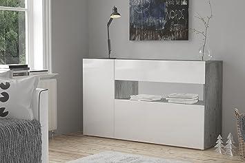 Sideboard Kommode Potenza Italian Design Hochglanz 140cm Weiss Zement