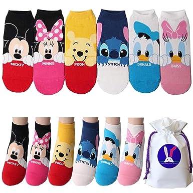 Disney Mickey Mouse Minnie Mouse Puntada Calcetines para niñas Pack de 6 Metro: Amazon.es: Ropa y accesorios