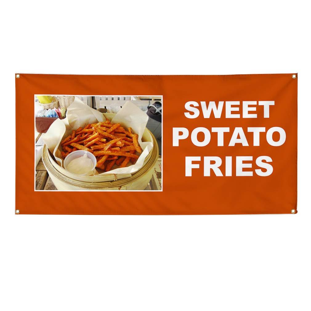 Vinyl Banner Sign Sweet Potato Fries Orange White Outdoor Marketing Advertising Orange - 40inx100in (Multiple Sizes Available), 8 Grommets, Set of 5