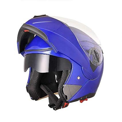 6396d190 Amazon.com: AHR Full Face Flip up Modular Motorcycle Helmet DOT Approved Dual  Visor Motocross Blue L: Automotive