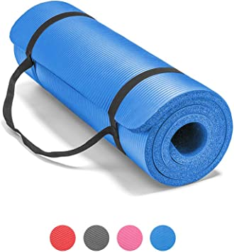 LOKATSE HOME All Purpose Thick Yoga Mat with Carrying Strap High Density Non-Slip Exercise Mat for Yoga and Pilates, 72 x 24 Inch