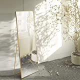 Beauty4U Full Length Mirror Floor Mirror Hanging Standing or Leaning, Bedroom Mirror Wall-Mounted Mirror with Gold…
