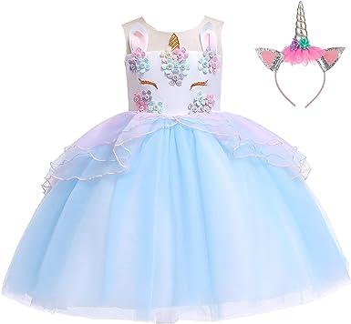 Amazon.com: Disfraz de unicornio para niñas con diseño de ...