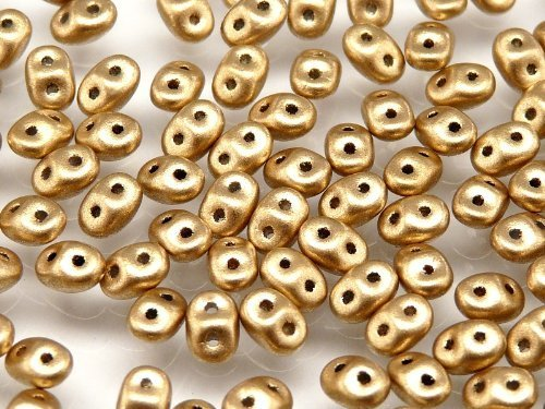 (20gr Czech Two Hole Seed Beads SuperDuo 2,5x5 mm CRYSTAL PALE GOLD)