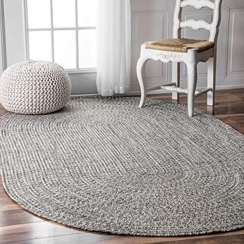 nuLOOM Braided Lefebvre Indoor/Outdoor Rug, 5' x 8' Oval, Light Grey ()