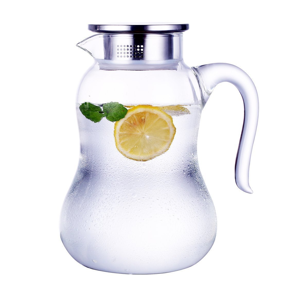 JIAQI Glass Pitcher with Stainless Steel Lid, Hot/Cold Water Jug, Juice and Iced Tea Beverage Carafe (51 Ounces)
