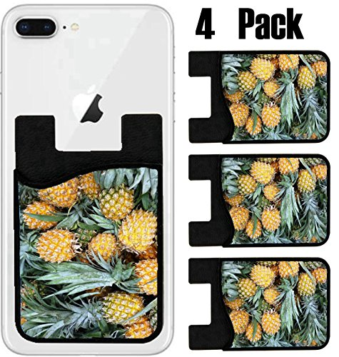 MSD Phone Card holder, sleeve/wallet for iPhone Samsung Android and all smartphones with removable microfiber screen cleaner Silicone card Caddy(4 Pack) IMAGE ID 28698540 Ripe fresh honey pineapples o by MSD