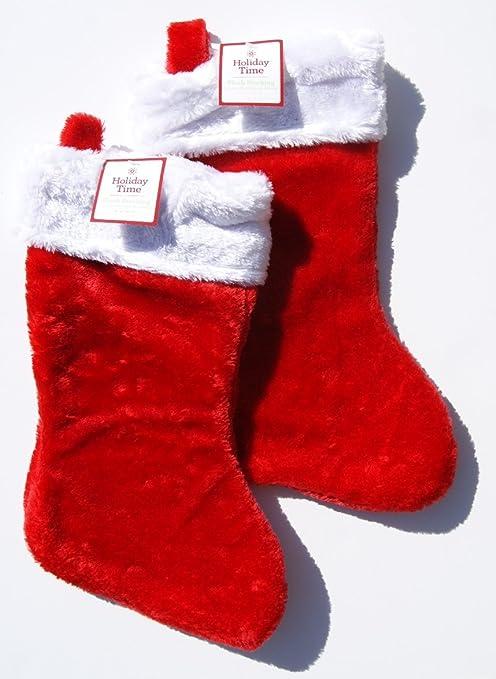 Red Velvet Christmas Stockings.Holiday Time Red Plush Christmas Stockings 2 Count