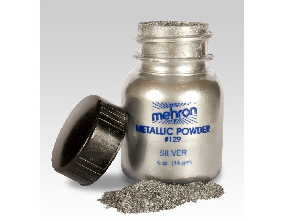 Mehron Metallic Powder, Metallic Paint Powder, Face and Body Paint, Special FX Make Up (Silver)
