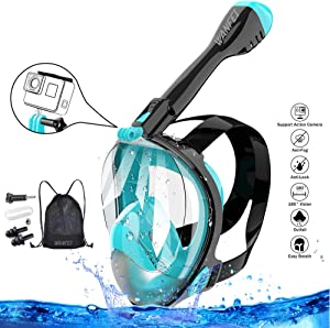 WANFEI Full Face Snorkel Mask Underwater Dive Masks Snorkel Sets Upgraded Breathing System Diving Snorkel Mask Full 180° Panoramic Viewing Anti-Fog Anti-Leak Dry Snorkeling Dive Masks Set for Adults