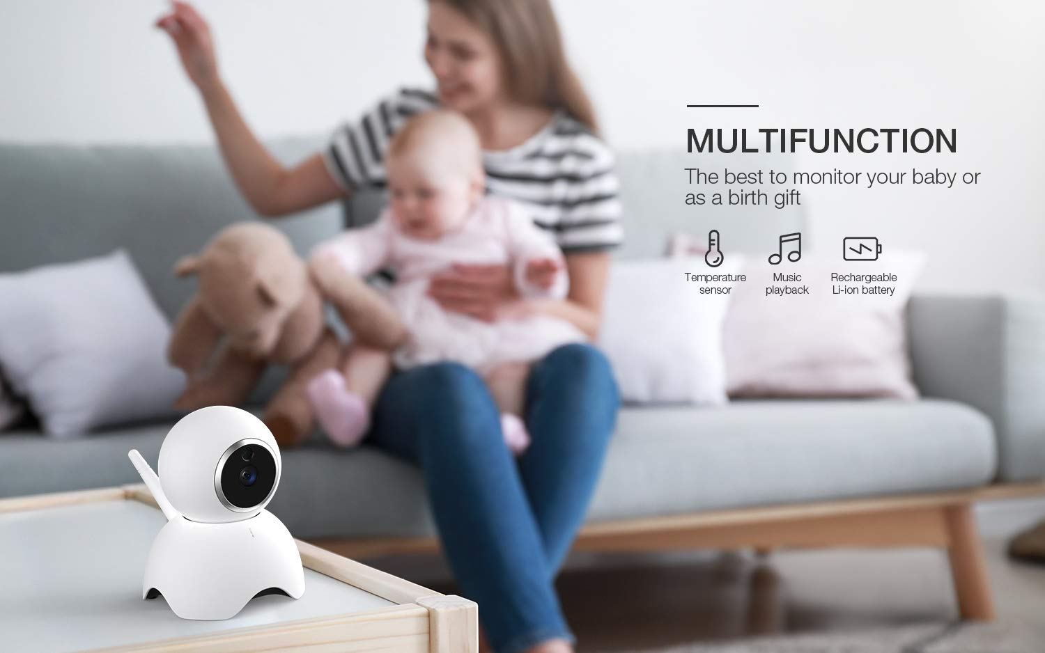 Baby Monitor BOIFUN Baby Video Camera with 5 1280x720P HD Screen 2000mAh Rechargeable Battery with VOX Night Vision Temperature Monitor Two-Way Talk 355 Degree Remote Control Camera Baby//Elder//Pet