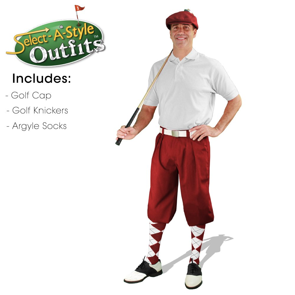 Golf Knickers Mens Select-A-Style Outfit - Maroon - Waist 54 - Sock - BK/MN