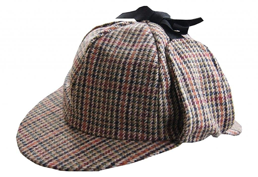 60cm BNWT Available in four sizes; 58cm Top quality Sherlock Holmes tweed deer stalker hat 60cm and 61cm 59cm
