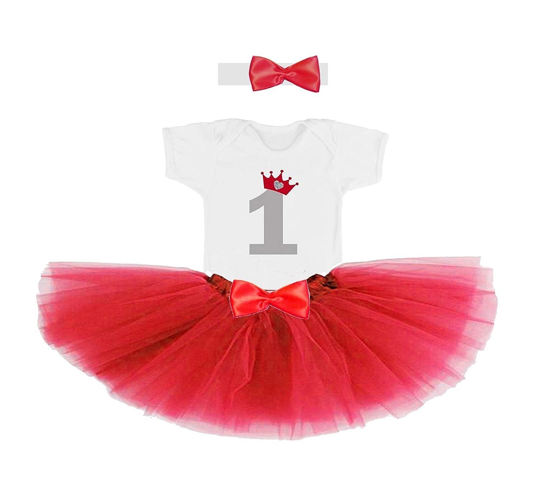Conjunto primer cumpleañ os 1 añ o para bebe nena rojo (body o camiseta + falda tutu + diadema)
