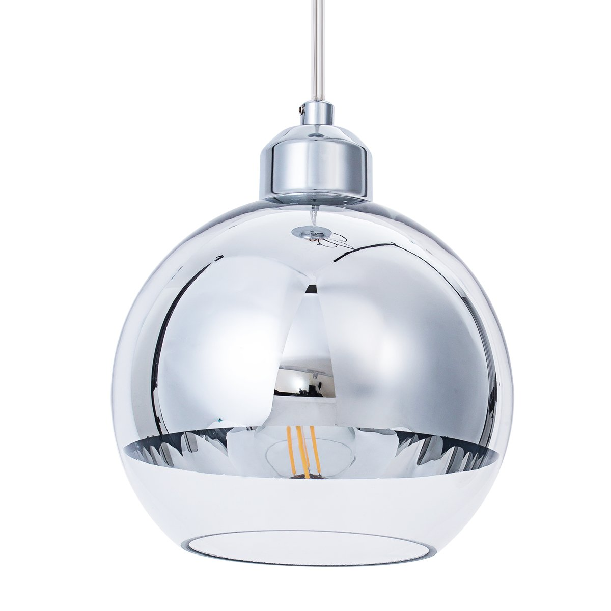 ShengQing Modern Mini Globe Pendant Light in Polished Chrome Finish with Hand Blown Clear Glass, Adjustable Mirror Ball Pendant Lighting for Kitchen Island, Bar, Dining Room, Bedroom, 8in
