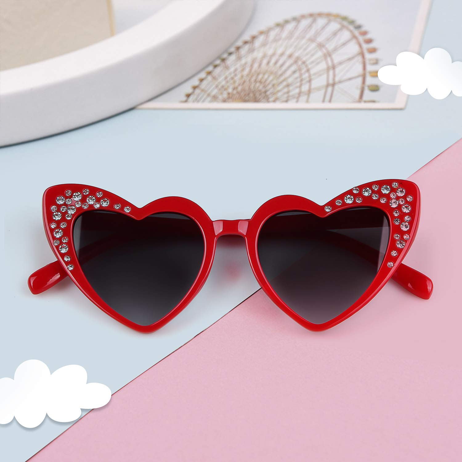 Love Heart Shaped Sunglasses Women Vintage Christmas Giftv For Girls (red, gray) by ADEWU (Image #3)