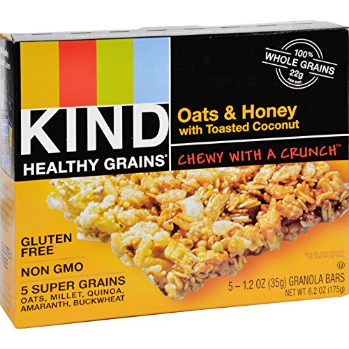 Kind Bar - Granola - Healthy Grains - Oats and Honey with Toasted Coconut - 1.2 oz - 5 Count - Case of 8 - Gluten Free-Dairy Free-Yeast Free-Wheat Free-