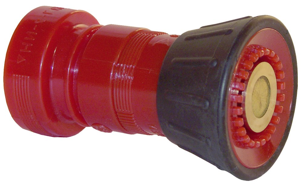 Dixon HGB100NST 1'' NST Red Thermoplastic Fire Hose Nozzle with Bumper, 1 GPM Maximum Flow Rate