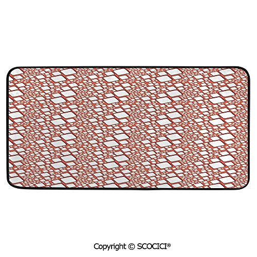 Soft Long Rug Rectangular Area mat for Bedroom Baby Room Decor Round Playhouse Carpet,Abstract,Ornamental Squares with Oval Corners in Various Shapes,39