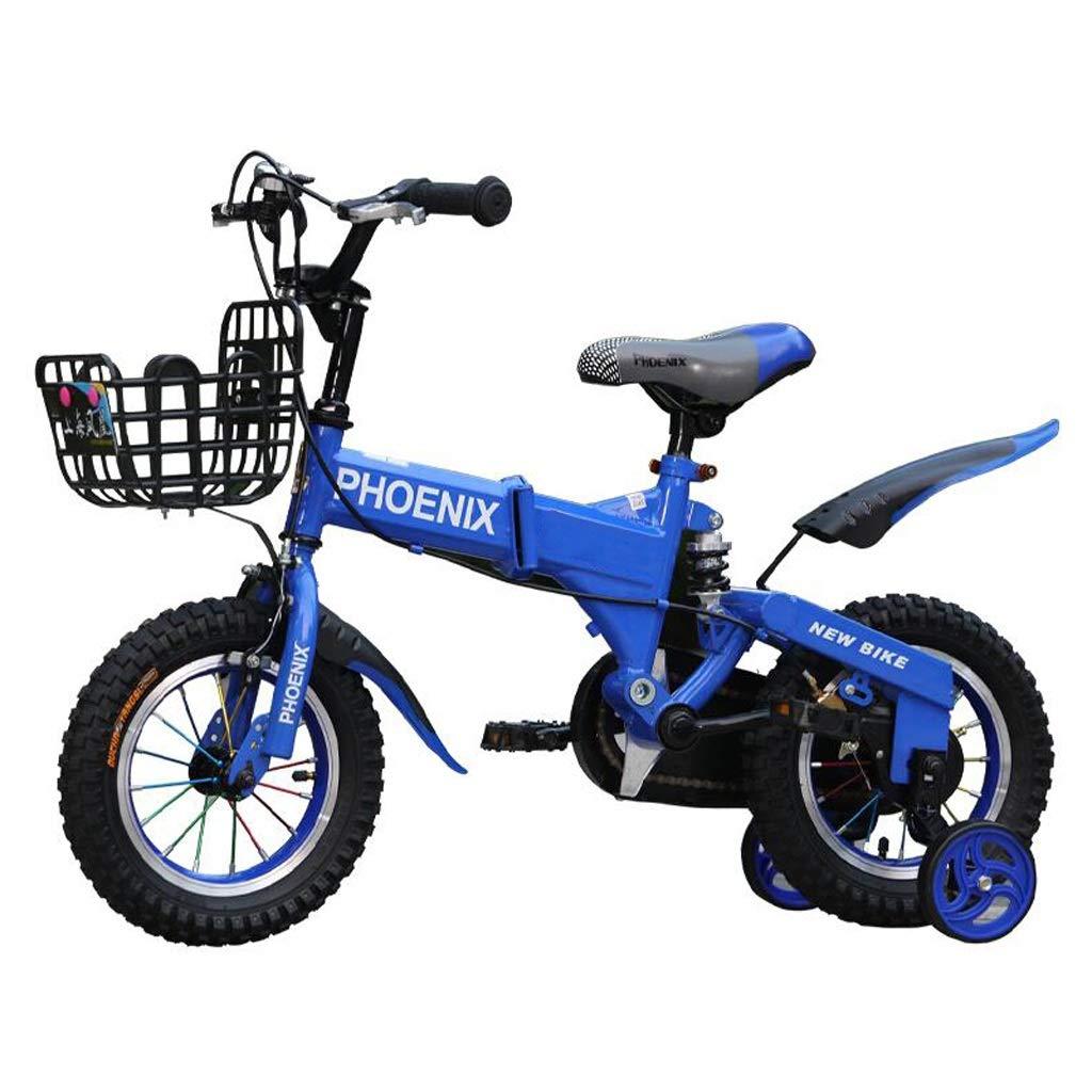 折りたたみ式耐衝撃性子供用自転車、スタビライザー付き、調節可能なハンドルバーとシート 16 inches 青 B07PJXHNP1