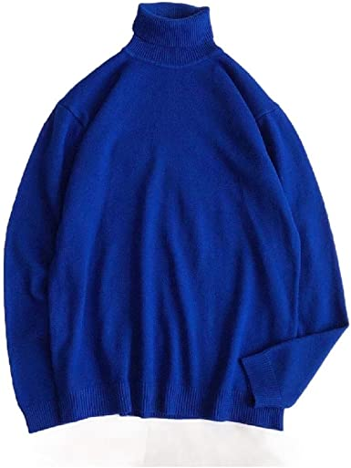 Fseason-Men Knit Long-Sleeve Fall Winter Pure Colour Turtleneck Sweater