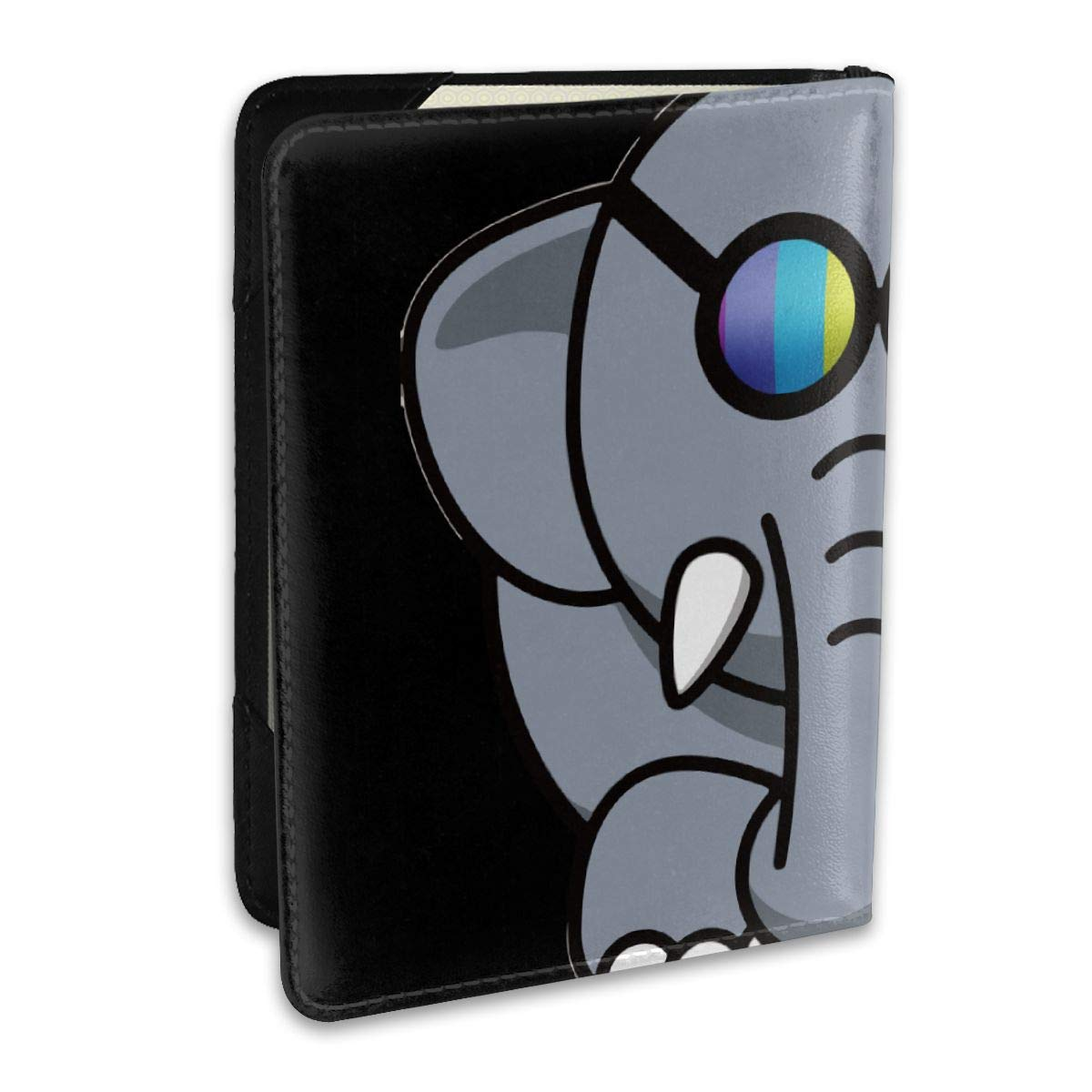 Elephant Rainbow Glasses Fashion Leather Passport Holder Cover Case Travel Wallet 6.5 In