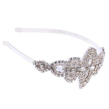 Amazon Com Homyl Shiny Crystal Rhinestone Floral Headband Wedding