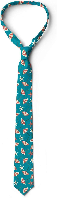 Holiday Beach with Umbrellas Petrol Blue Coral Cream Ambesonne Necktie 3.7