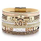 Graduation Cap 'Class of 2019' Leather Wrap Boho Multilayer Bangle Bracelet, Perfect College/High School Graduation Gifts for Her or Present for Girls Boys Granddaughte| Him in 2019 (X-Graduation)