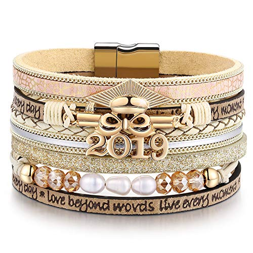 Graduation Teacher Gifts for Her 2019 Leather Wrap Boho Bangle Bracelet, Perfect College/High School Graduation Gifts for Her or Present for Girls Boys Granddaughte| Him in 2019 (X-Graduation)]()