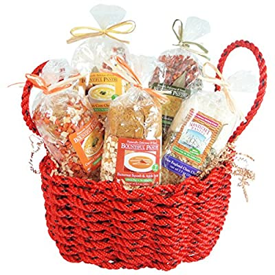 New England Chowder Mixes in a Maine Made Lobster Rope Gift Basket
