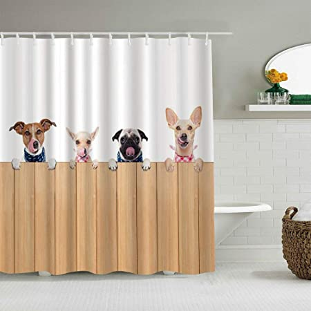 Dahallar Shower Curtain Dog Lover Cute Dogs Of Row Are Behind Wooden Fence Personalized Decor Bathroom Curtain 180x210 Amazon Co Uk Kitchen Home
