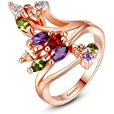 Anillos de Oro 18K Gold Plated Finger Ring for Women Party with AAA Colorful Cubic Zircon