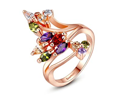 d2de973b1d7a Dixey Luxury Anillos de Oro 18K Gold Plated Finger Ring for Women Party  with AAA Colorful