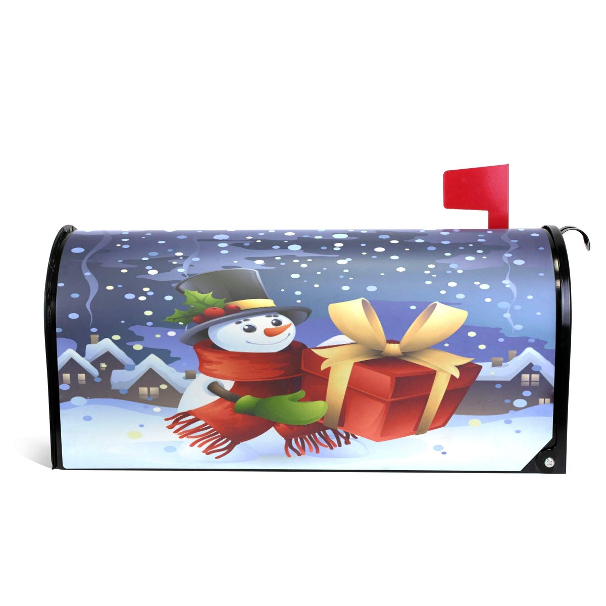 """Naanle Christmas Holiday Magnetic Mailbox Cover, Snowman Mailbox Wrap Home Decorative for Large Size 25.5""""(L) x 20.8""""(W)"""