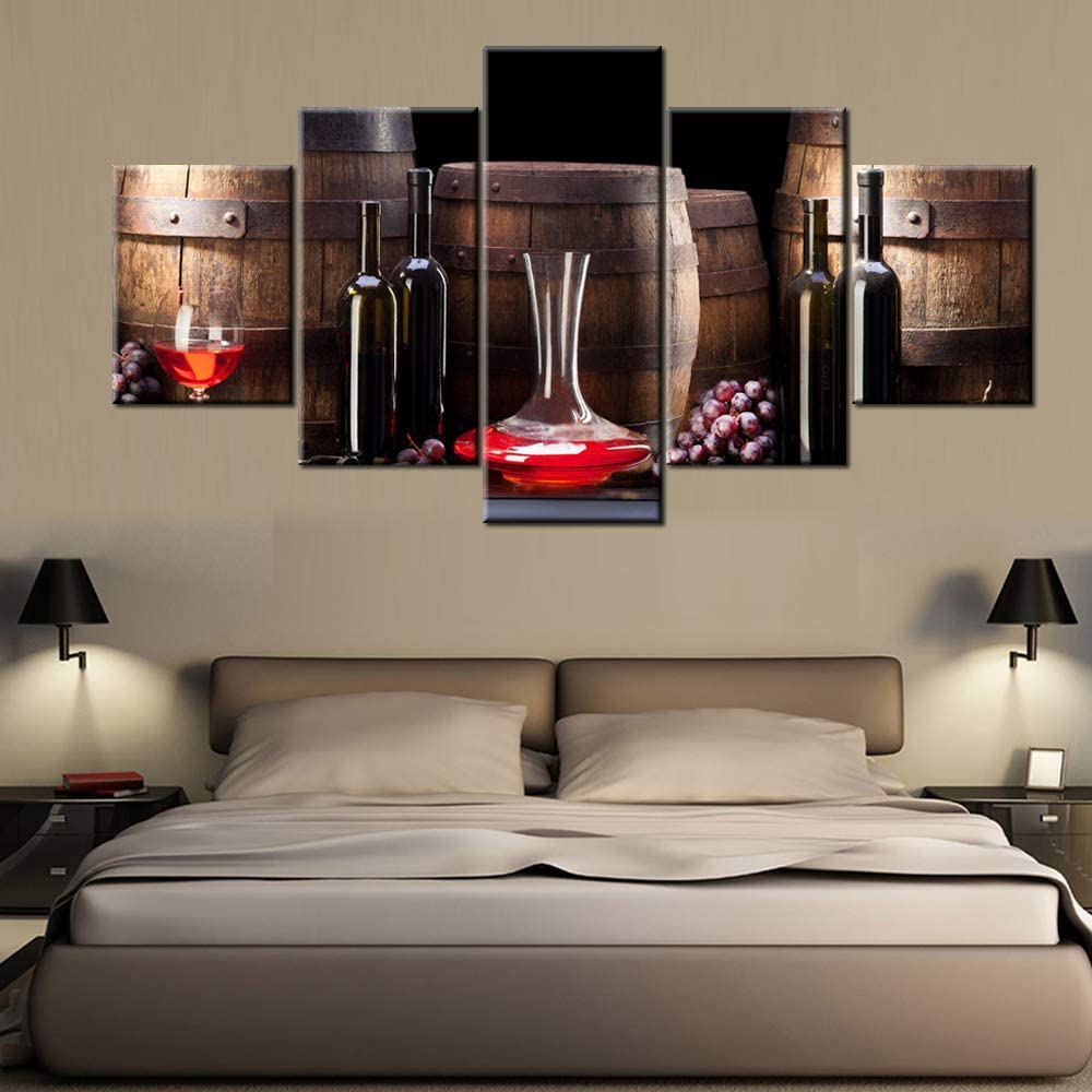 5 Piece Canvas Wall Art Wooden Barrel with Red Wine Artwork Alcohol Beverage Pictures for Living Room Vintage Wineglasses Paintings House Decor Framed Ready to Hang Posters and Prints(60''Wx32''H)