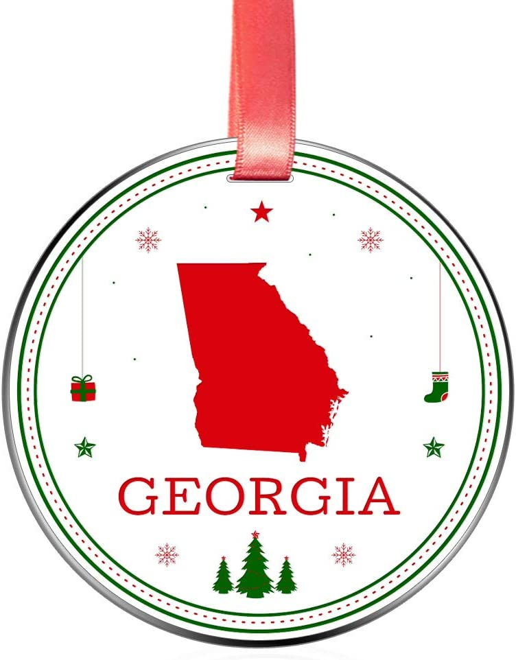 Elegant Chef Georgia State Christmas Ornament- Tree Hanging GA Lover Patriotic Decoration for Xmas Holidays Celebration- 3 inch Flat Stainless Steel- Festival Decor Distance Gift for Family Friends