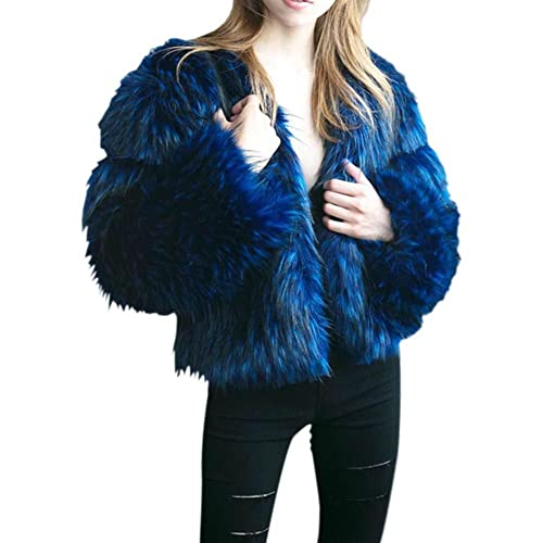 PanDaDa Mujer Elegante Invierno Calentar Abrigo de piel sintética Peludo Chaqueta