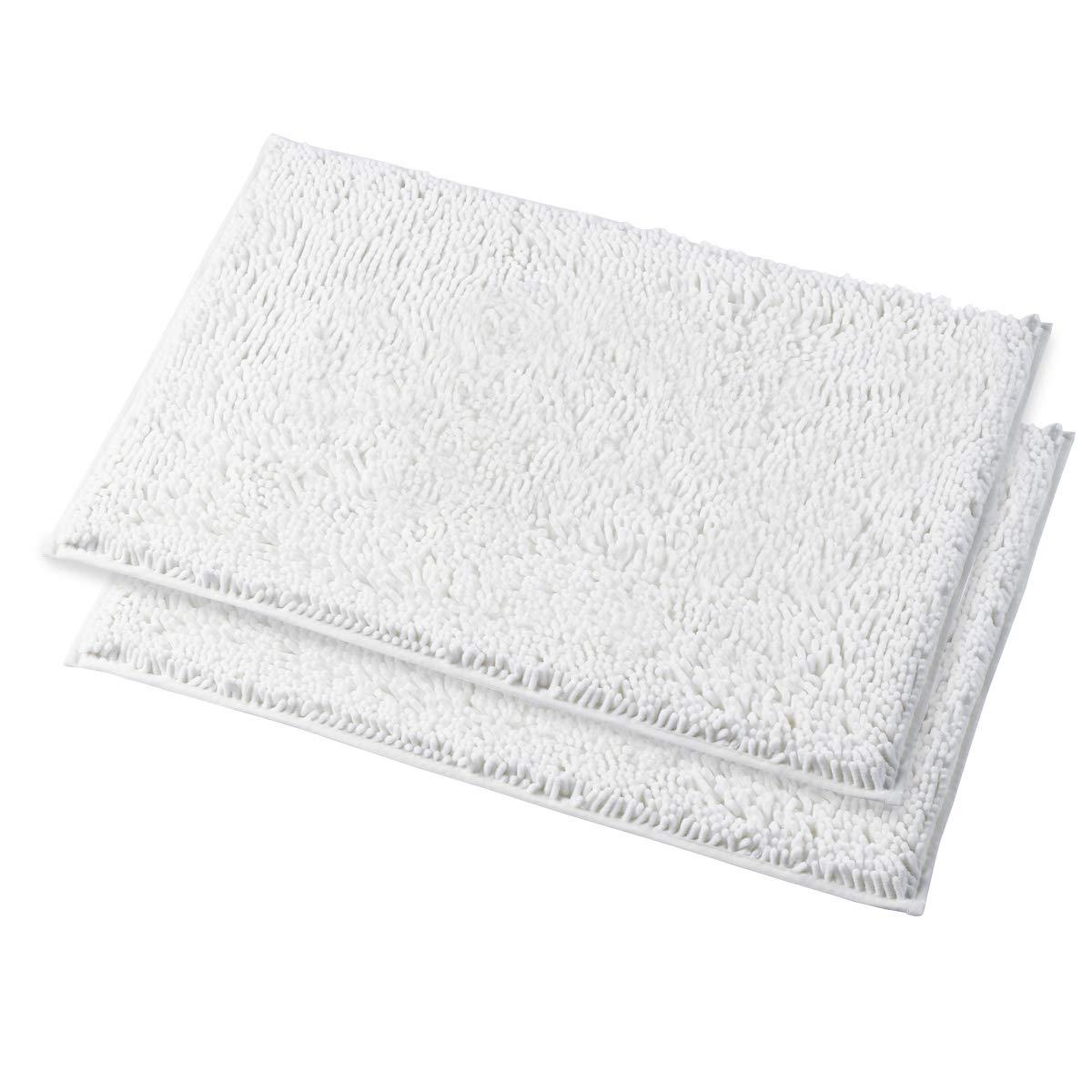 MAYSHINE Bath mats for Bathroom Rugs Non Slip Machine Washable Soft Microfiber 2 Pack (20×32 inches, White)