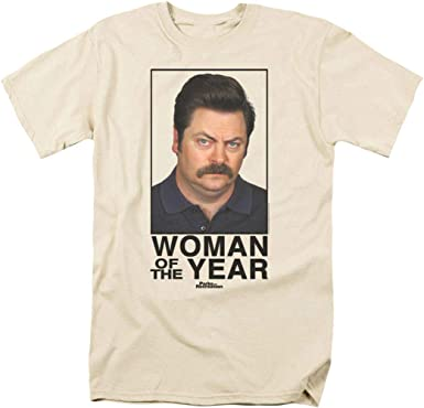 Ron Swanson Facial Features Ladies Printed T-Shirt