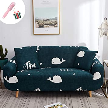 Queena Style Sofabezug Sofa/überw/ürfe f/ür 4 Blau, 1 Sitzer auch f/ür L-Form Elastische Stretch 1 Sitzer Stretch Sofa Schonbezug Allbezug Sofa /Überzug Couch Cover Protector 3 2