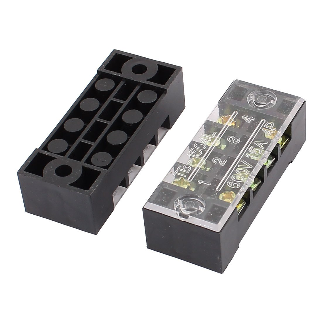 uxcell 10 Pcs 600V 15A 4Position Dual Row Electric Barrier Terminal Block Wire Connector Bar US-SA-AJD-204790