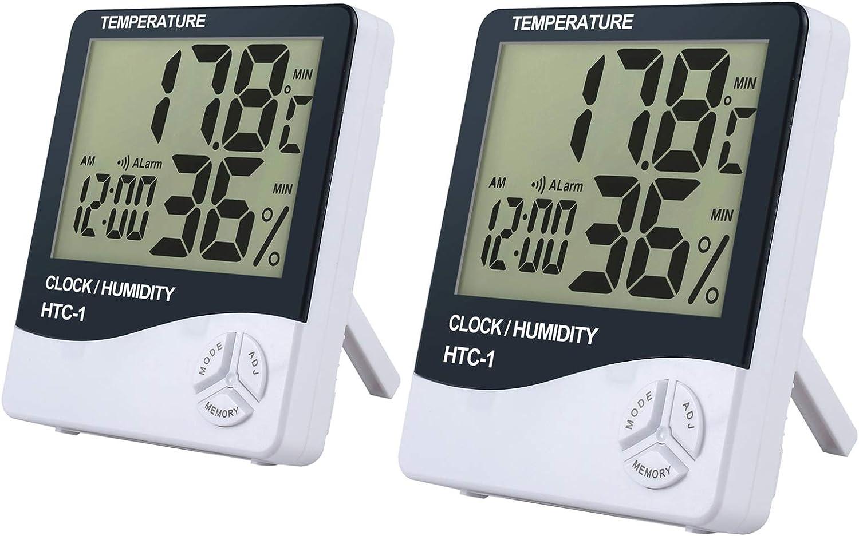 eSynic 2 Piezas Digital Medidor Termómetro Higrómetro LCD con Reloj de Alarma Monitor de Humedad de Temperatura Interior para el Familia Oficina