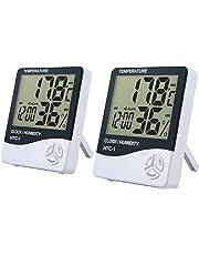 eSynic Thermomètre hygromètre numérique intérieur LCD Thermomètre Température Humidité Horloge Enregistreur de Temps utilisé dans la Chambre à Coucher, Bureau, entrepôt, Cuisine, Serre etc.