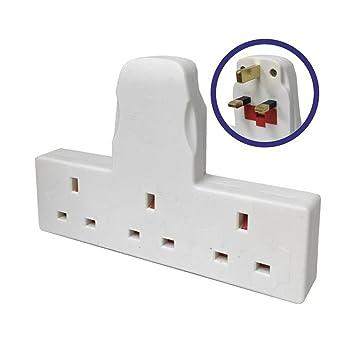 3 Way Adapter Mains Plug Adaptor Cable Free: Amazon.co.uk: Electronics