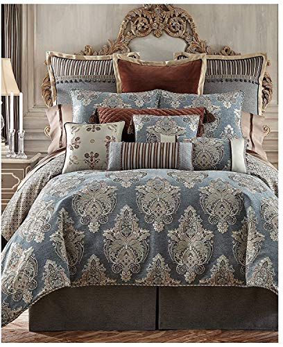 Waterford Fine Linens Luxury Classic Bed Skirt Bedding Hilliard Collection (Teal, King) ()